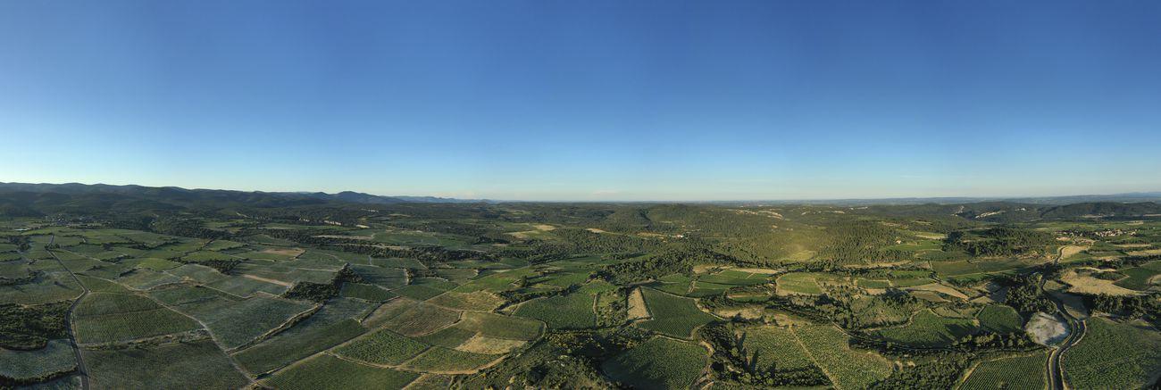 Photo panoramique aérienne par drone des Vignes du Minervois © L'Atelier du Ciel