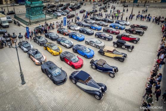 Bugatti Vendome Paris 2019 - Photo avec mât télescopique DCOMDRONE Dollet