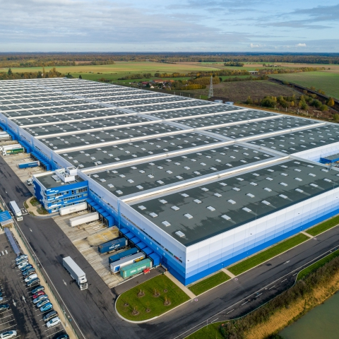 Drone shots of Europe's largest logistics warehouse.