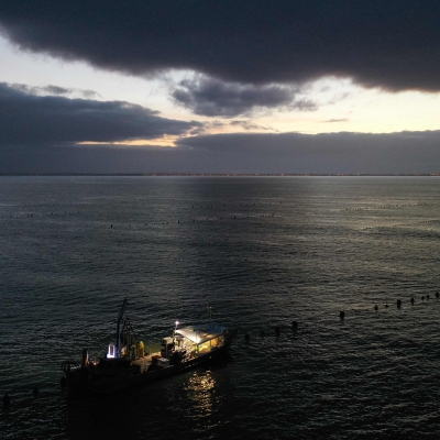 Drone View of Mussel Farmers in Charente-Maritime, France