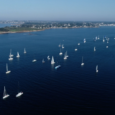 Start of the Spi Ouest France sail race from Trinité-sur-Mer in Morbihan Brittany France