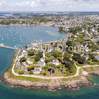 Aerial view of the Port Navalo Lighthouse in Arzon city located at the entrance to the Gulf of Morbihan Morbihan Brittany