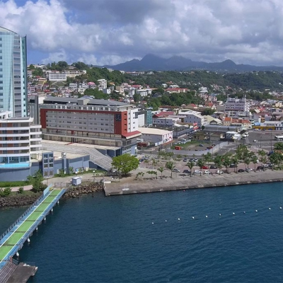 Aerial view by UAV of Fort-de-France, in Martinique, French West Indies