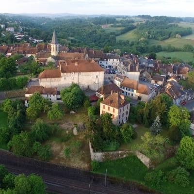 Photograph by drone of the Village of Pierre-Buffière in the early morning, Haute-Vienne, France